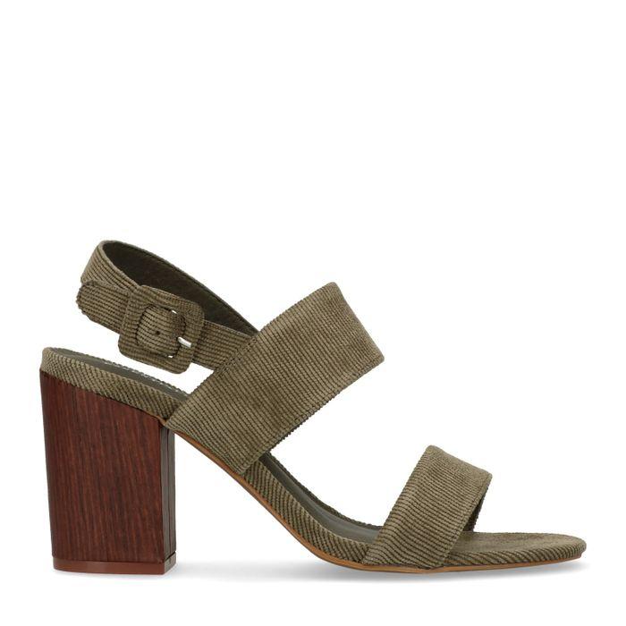 Sandales à talon en tissu côtelé - vert foncé
