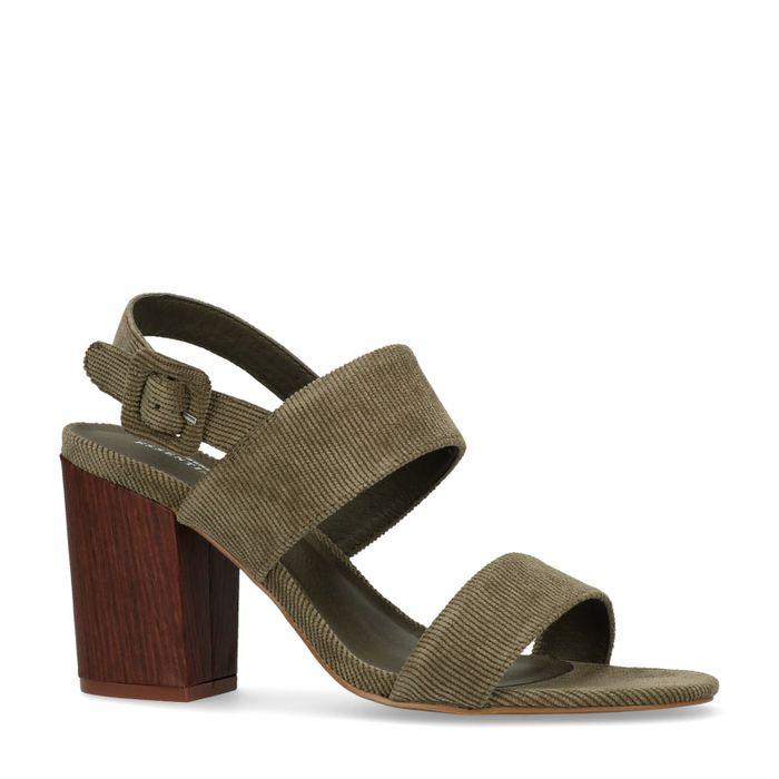 Sandales tissu côtelé à talon - vert foncé