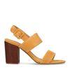 Sandales à talon en tissu côtelé - jaune