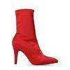 Bottines-chaussettes à talon en satin - rouge
