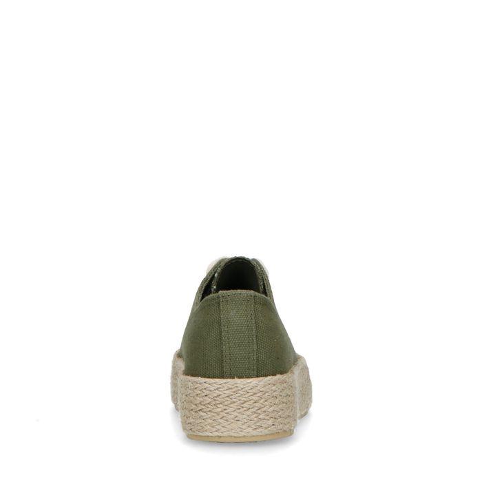 Baskets textile avec semelle en corde - vert foncé
