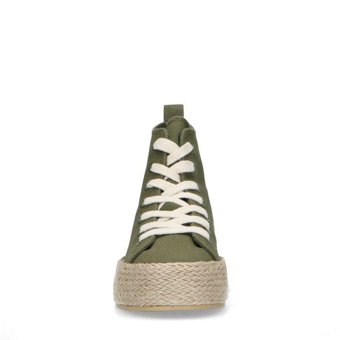 Baskets mi-hautes textile avec semelle en corde - vert foncé