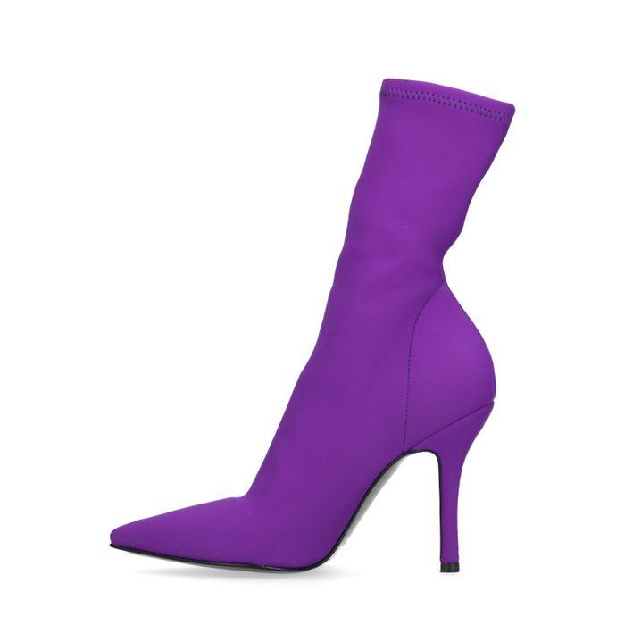 Bottines-chaussettes textile - violet