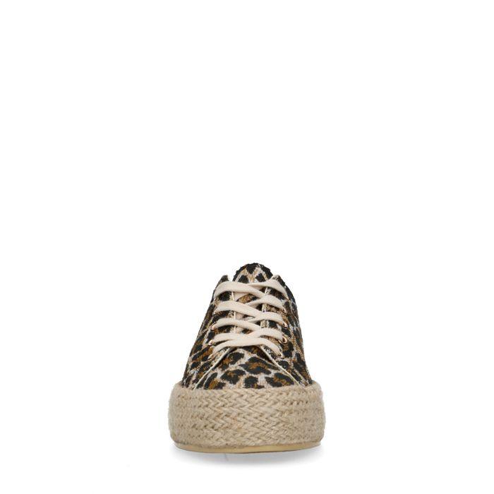 Baskets toile à plateforme avec imprimé léopard