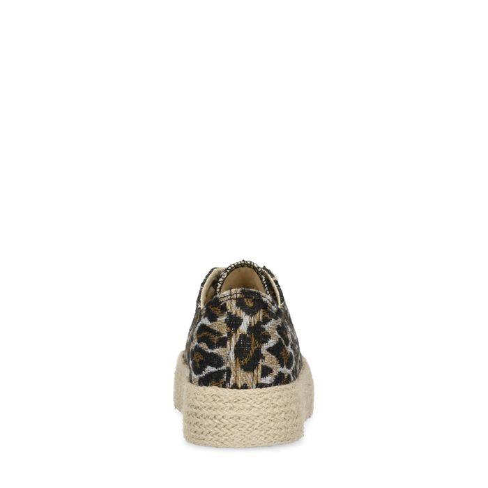 Baskets à plateforme en toile avec imprimé léopard