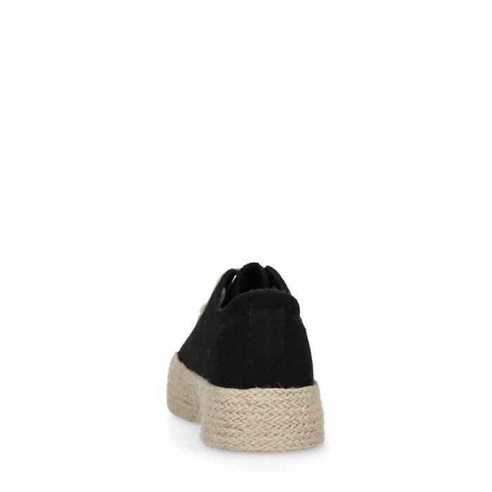 Baskets à plateforme textile avec semelle en corde - noir