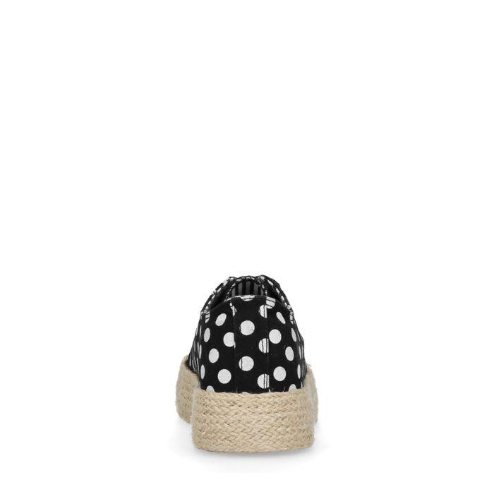 Baskets à plateforme textile avec pois - noir