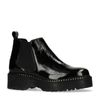 Chelsea boots cuir verni à plateforme - noir