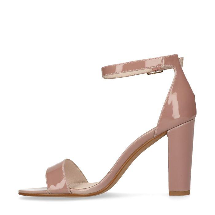 Sandales synthétique verni à talon - nude