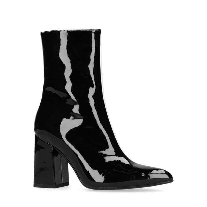Bottines synthétique verni à talon - noir