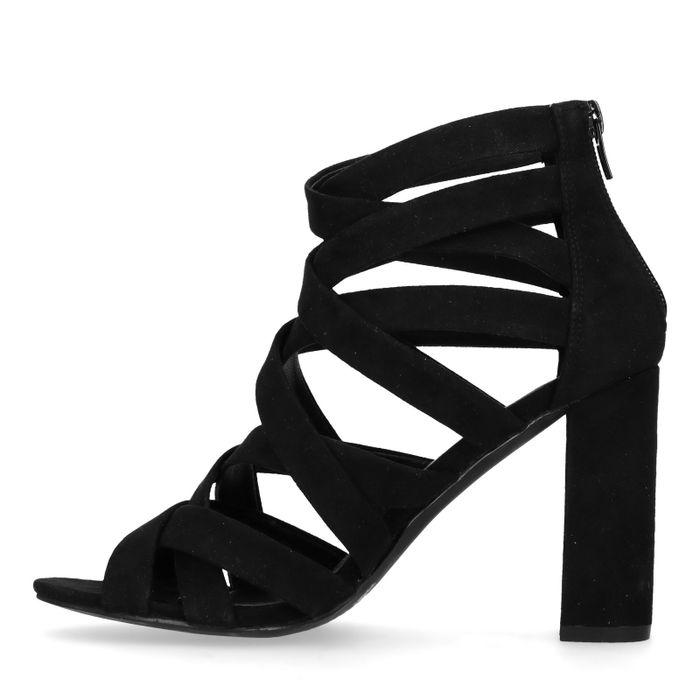 Sandales synthétique verni à talon et brides croisées - noir