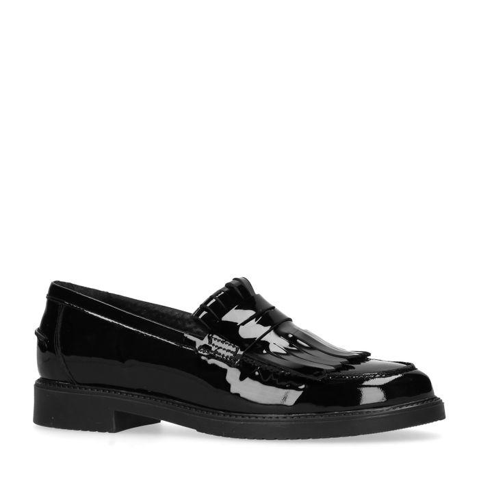 Loafers en cuir verni avec franges - noir