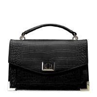 9b112e166ad328 Schwarze Handtasche mit Krokomuster 46,99