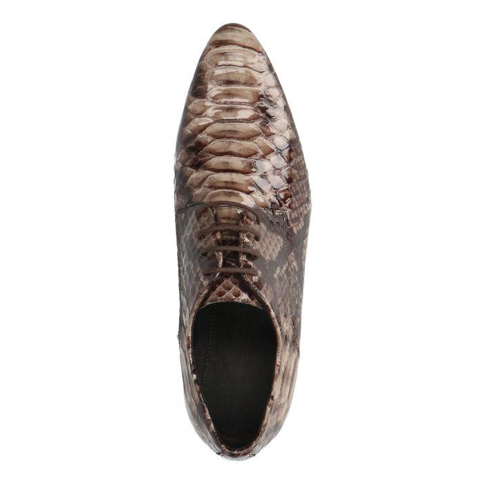 Bruine snakeskin veterschoenen