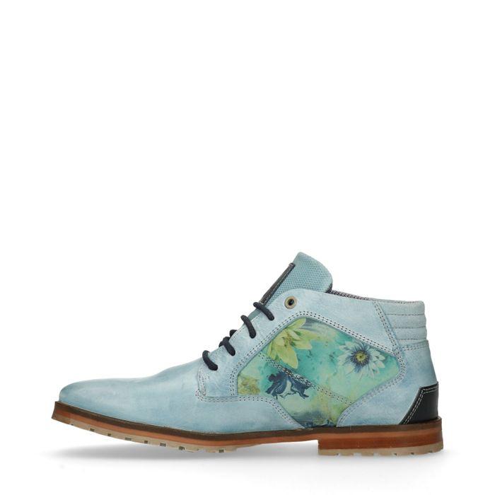 Blauwe veterboots met bloemprint