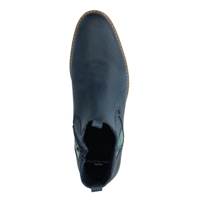 Blauwe leren boots met bloemenprint