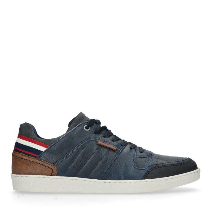 Donkerblauwe lage sneakers met hielstuk