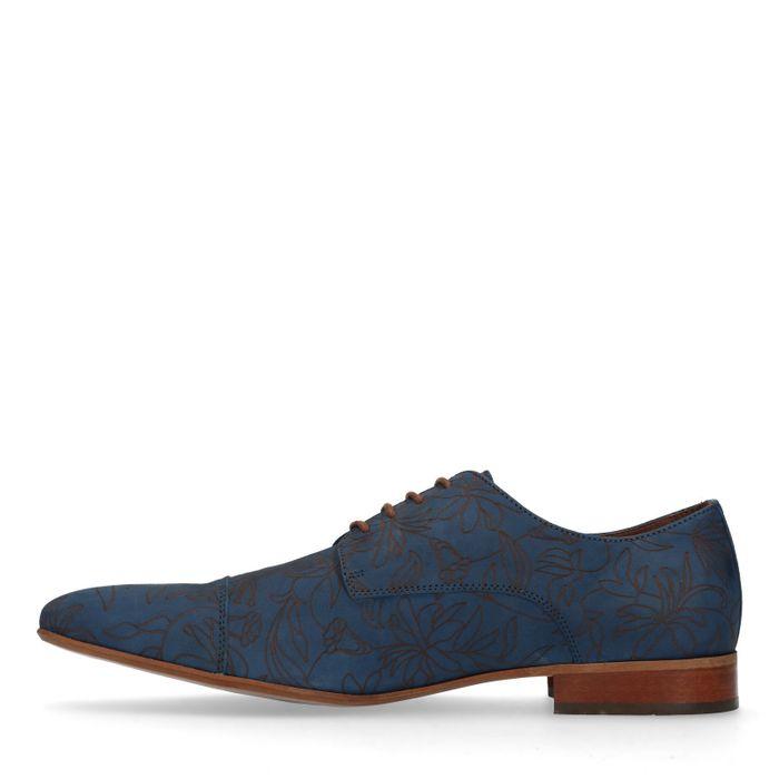 Donkerblauwe veterschoenen met bloemenprint
