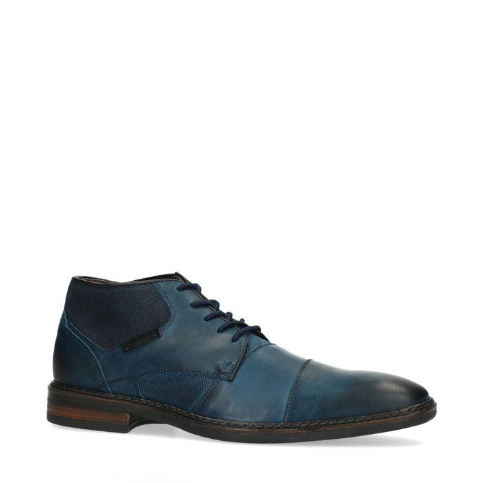 Blauwe veterschoenen met elastiek