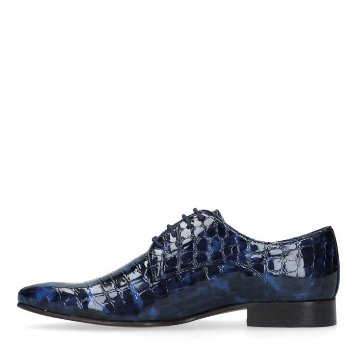Blauwe veterschoenen met snakeskin