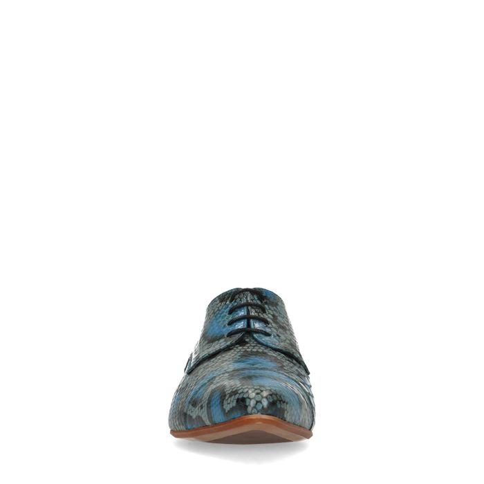 Blauwe leren veterschoenen met snakeskin
