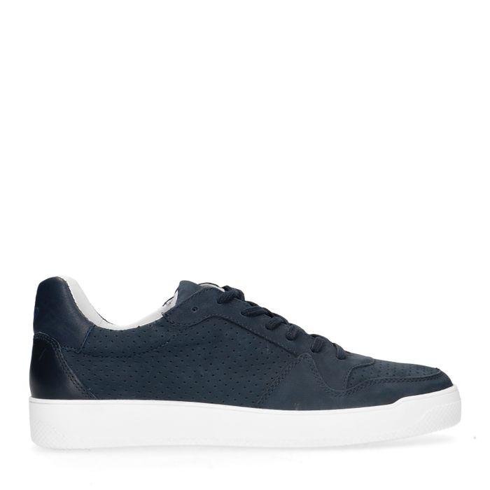 Donkerblauwe leren sneakers