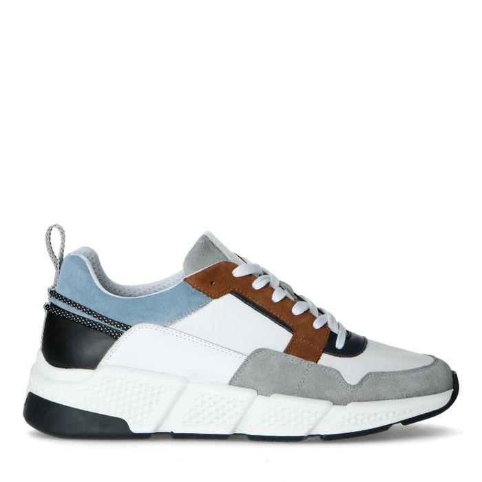 Multicolored leren sneakers met blauw detail