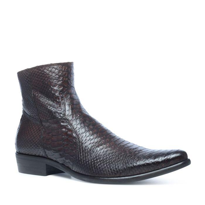 Donkerbruine lage boots met snakeskin
