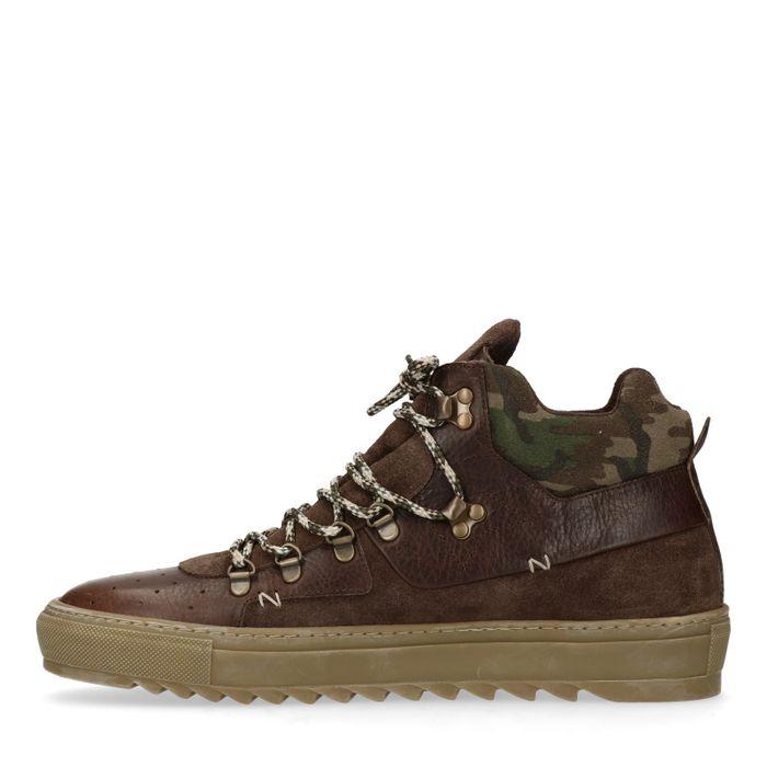 Bruine hoge sneakers met detail