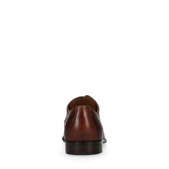 Leren bruine veterschoenen met detail