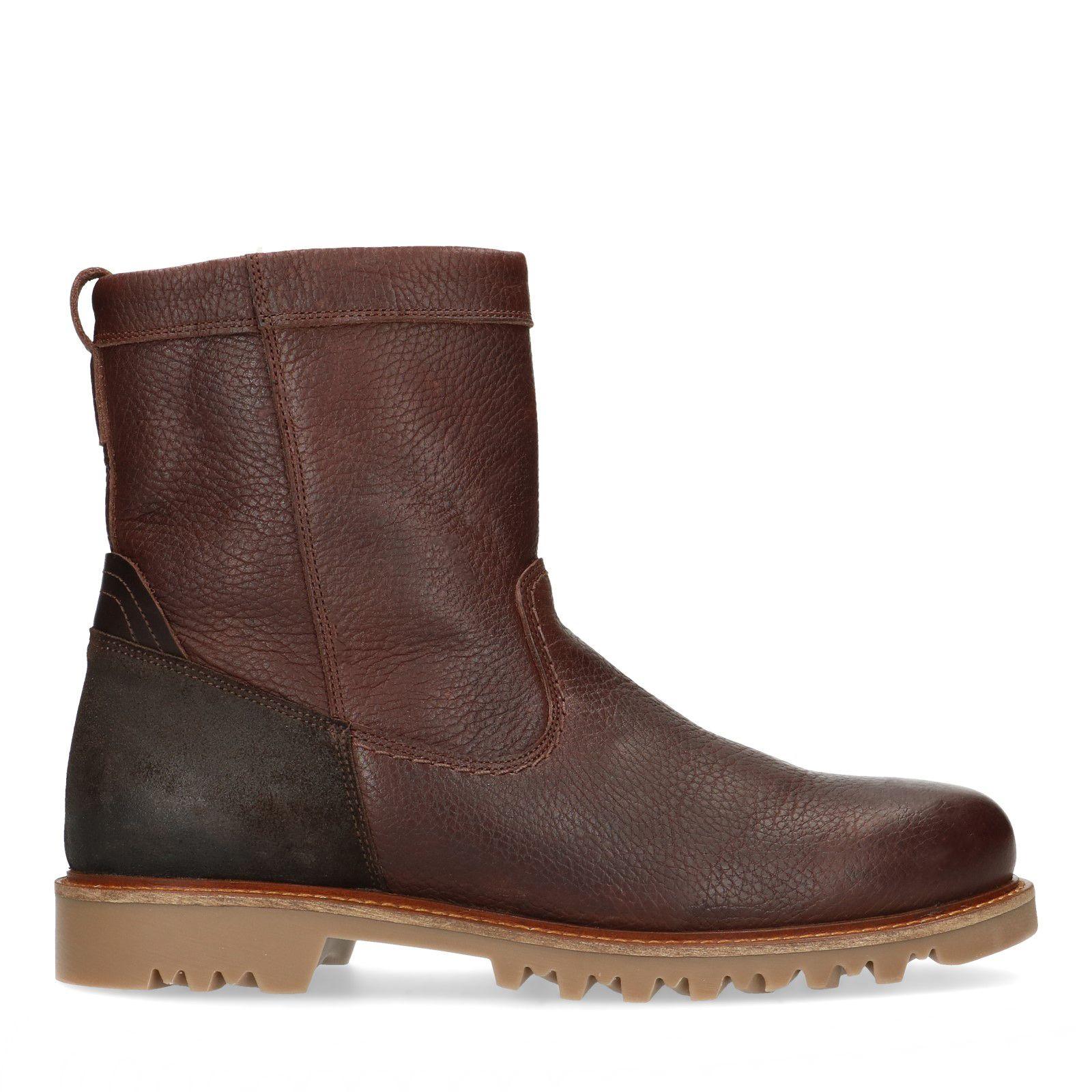 Sacha Bruine leren boots met imitatiebont