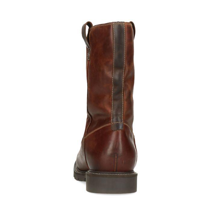 Bruine leren hoge boots met imitatiebont