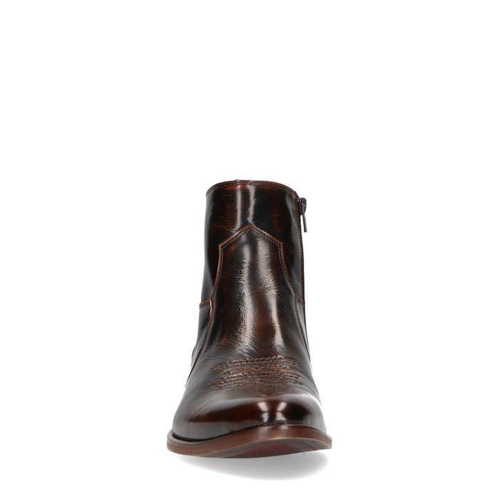 Donkerbruine leren lage boots