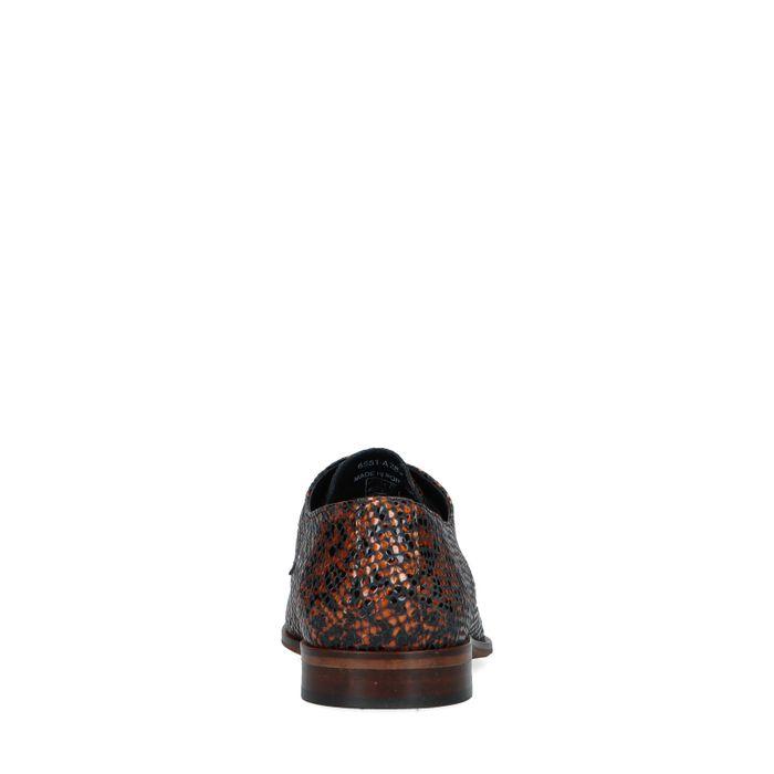 Bruine lak veterschoenen met panterprint