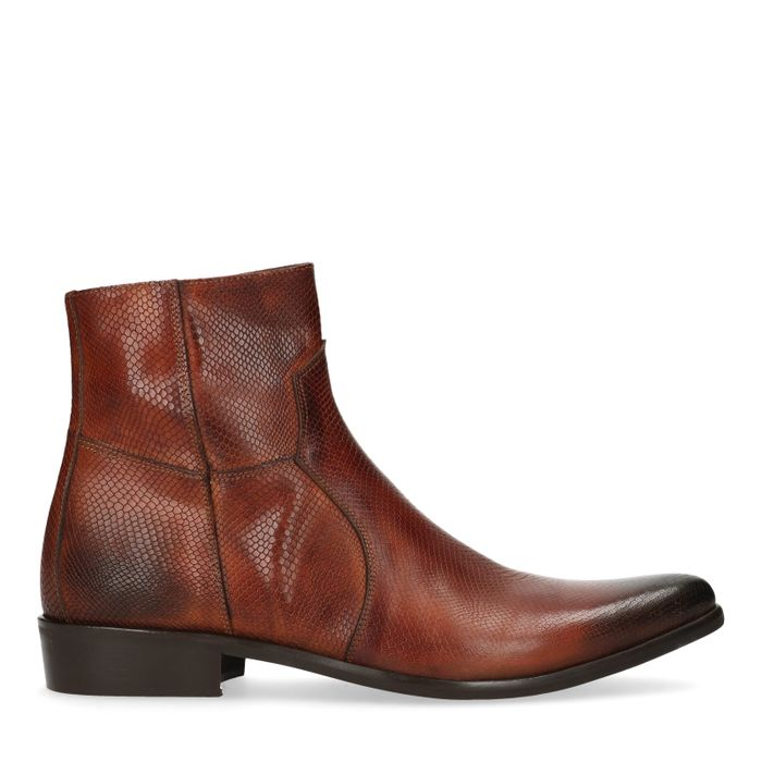 Cognac lage boots snakeskin