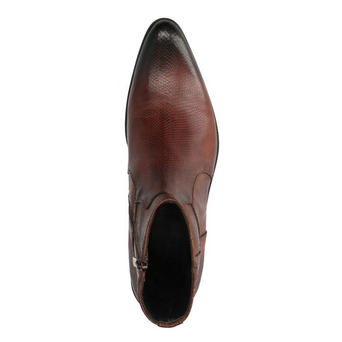 Cognac lage boots snakeskin