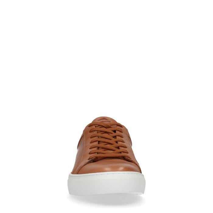 Bruine leren lage sneakers