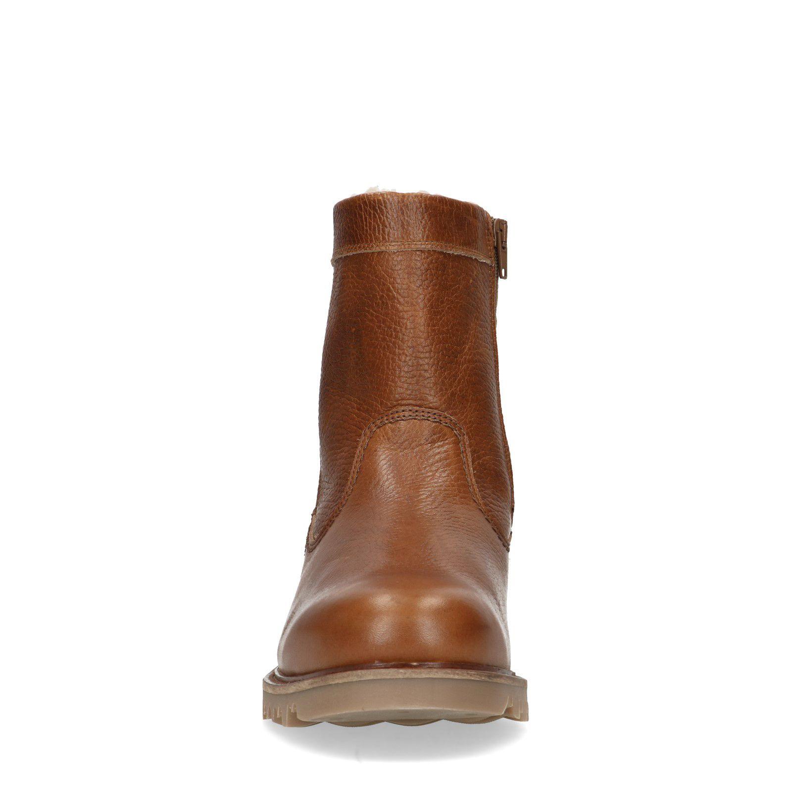 Sacha Cognac leren boots met imitatiebont