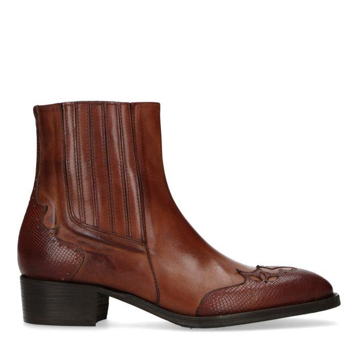 Cognac leren western boots