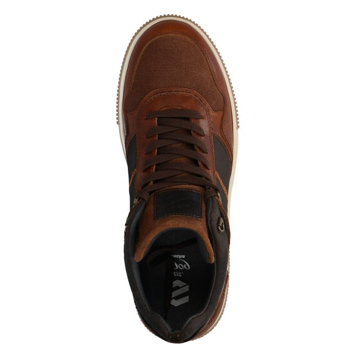 Cognac leren hoge sneakers