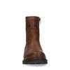 Cognac leren boots met imitatiebont