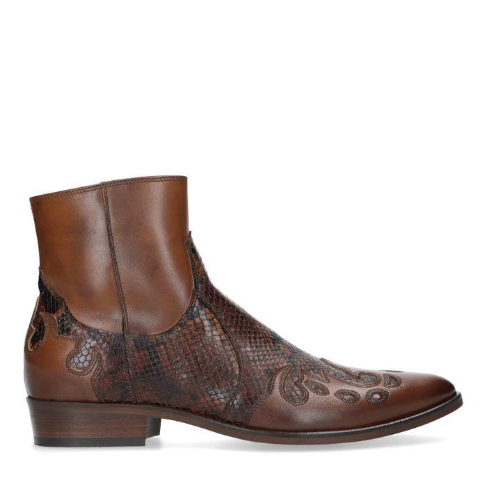 Cognac western boots met snakeskin