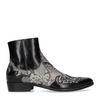 Zwarte western boots met snakeskin print
