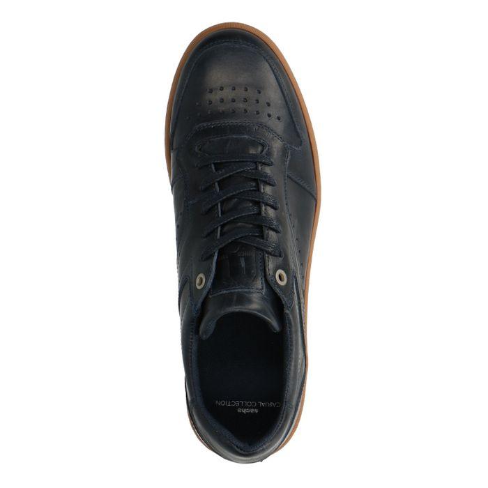 Donkerblauwe lage sneakers met bruine zool