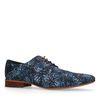 Donkerblauwe veterschoenen met print