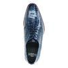 Donkerblauwe leren veterschoenen met print