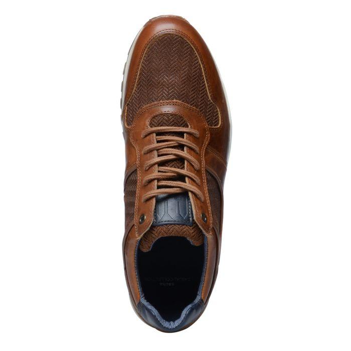 Donkerbruine lage sneakers met details