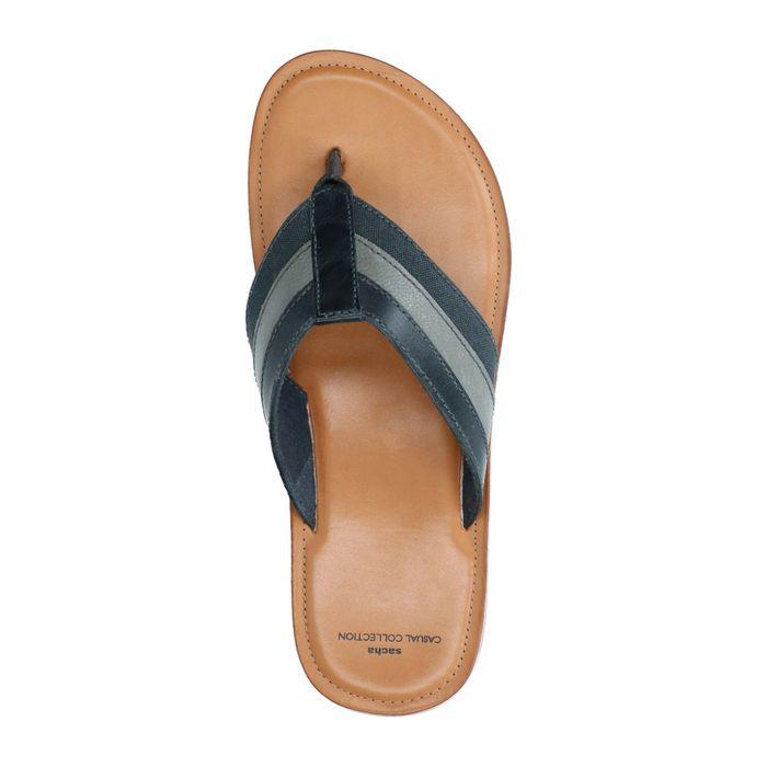 Blauwe slippers met gestreepte band