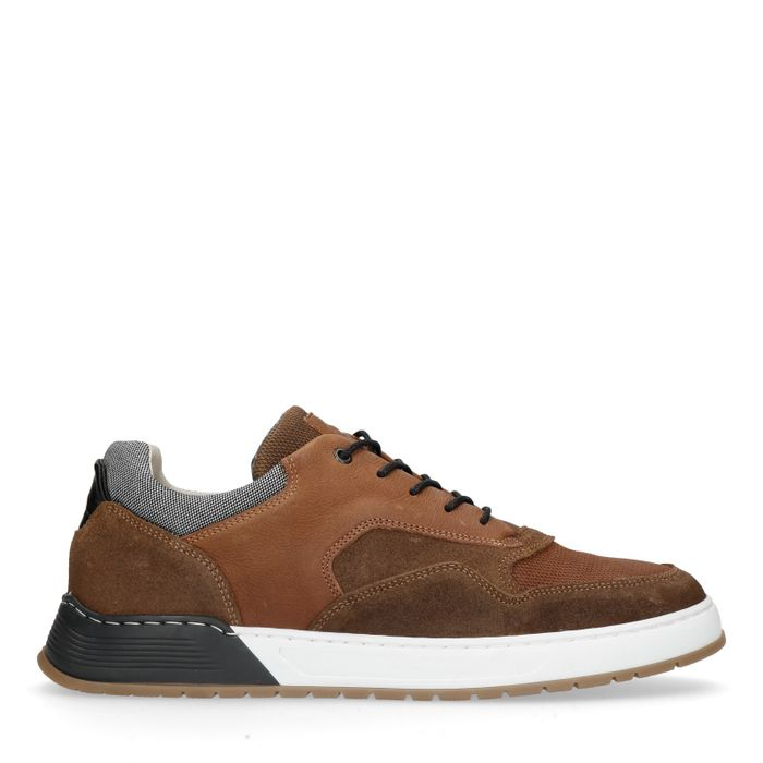 Cognac leer met suède sneakers