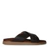Bruine suède slippers met gekruiste banden